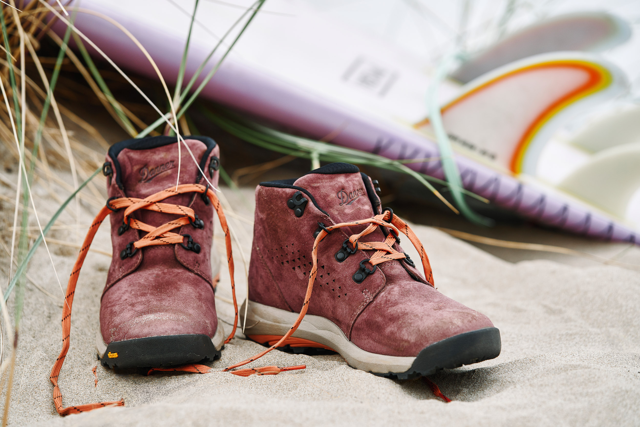 Close up photograph of Danner Inquire on sand at Cannon Beach, OR